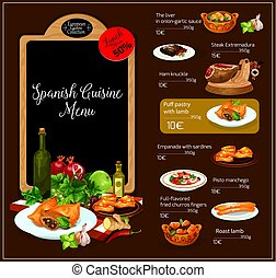 Vector menu template of Spanish cuisine restaurant