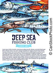 Vector poster of fishing club fish seafood catch - Fishing...