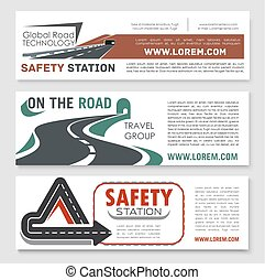 Vector road safery or highway construction banners - Road...