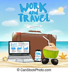 work and travel with laptop smartphone suitcase sun glasses