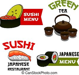 Vector icons of sushi for Japanese restaurant menu - Sushi...