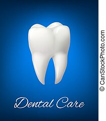Vector 3D white tooth for dental care design