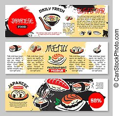 Vector banners for Japanese seafood restaurant - Japanese...