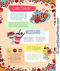Vector poster for confectionery or bakery shop - Bakery...
