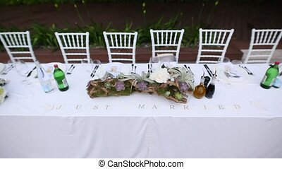 Tables at the wedding banquet. Wedding decorations. Wedding...