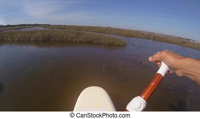 Chest POV of an stand up paddleboarding - Chest POV of man...