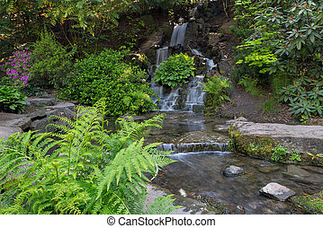Waterfall and Creek at Crystal Springs Rhododendron Garden -...