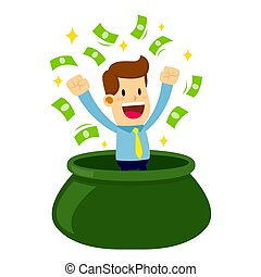 Businessman Come Out From Bag of Money - Vector stock of a...