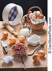 Pieces of kitchen utensils and a set of products for...