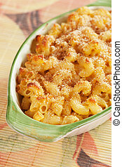 Oven baked mac and cheese, american style macaroni pasta...