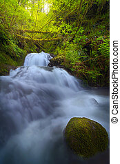 Waterfall at Shepperds Dell Falls in Columbia River Gorge...
