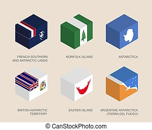 flag-box3template - Isometric 3d boxes with flags of...