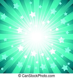 Green burst with many white stars for abstract vector design...