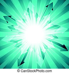 Green burst with lots of arrows out from center for abstract vector design background concept