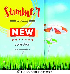 Summer new collection. Stylish advertisement text poster on blue summer sky backdrop with clouds, sun umbrellas, grass, daisies and ladybugs. Template mock-up for online shopping, advertising actions