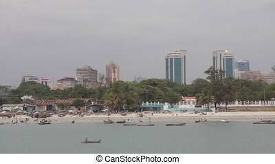 Panorama of Dar Es Salaam City from sea - Panorama of Dar Es...
