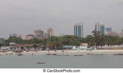 Panorama of Dar Es Salaam City from sea - Panorama of Dar Es...
