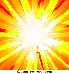 Orange burst with lots of arrows out from center for abstract vector design background concept