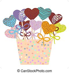 Colorful Sweet Cake pops hearts set with bow in a pink bucket isolated on white background. Vector