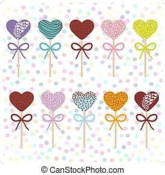 Colorful Sweet Cake pops hearts set with bow isolated, pastel colors on white polka dot background. Vector