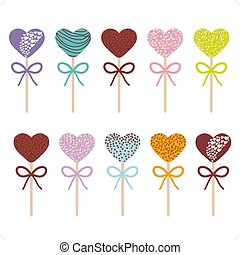 Colorful Sweet Cake pops hearts set with bow isolated on white background. Vector