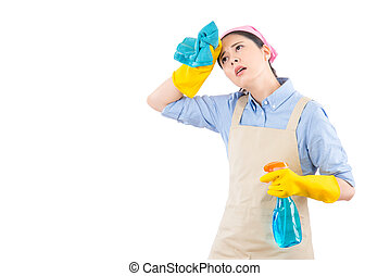 Cleaning woman feel tired and exhausted