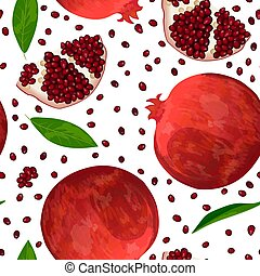 Ripe red pomegranate, seeds and slices isolated on white....