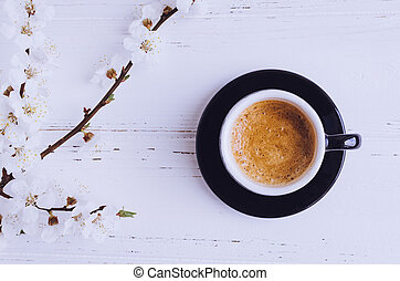 Coffee and cherry blossom