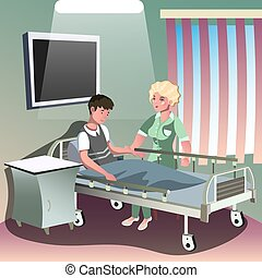 Hospitalization of the patient. Vector illustration in a...