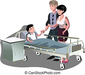 The boy is lying in bed in the hospital - Parents with sick...