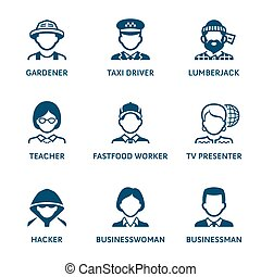 Profession icons || Set II - Contour blue icons with...