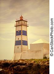Santa Marta Lighthouse in Cascais, Portugal.