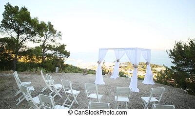 Wedding ceremony on the lookout over Split, on a mountain in...