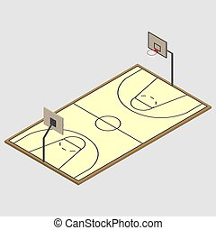 Field of play basketball isometric, vector illustration.