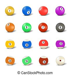 Set of balls for playing pool, vector illustration.