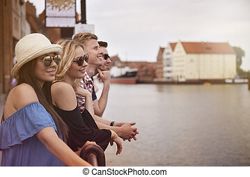 Group of friends likes spending time together
