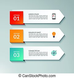 Infographic arrow design template with 3 options, steps, parts. Can be used for workflow layout, diagram, chart, graph, report, web banner