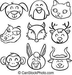 Animal head funny doodle collection