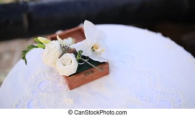 Flower arrangement on the table. Wedding decorations....