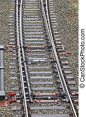 Railway point switch junction. Transportation travel background