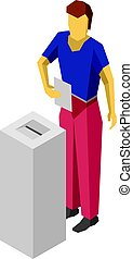 Print - Man in blue and red put voting paper in election...