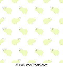 Seamless pattern with cute polar bears in simple cartoon style.