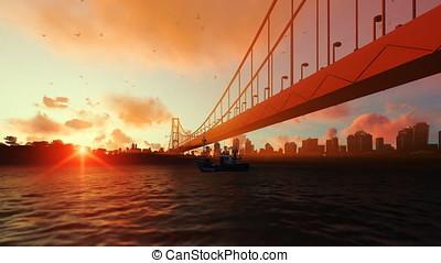 Goldengate Bridge fishing boat zoom out, beautiful sunset