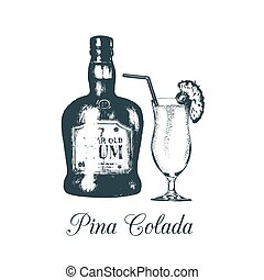 Hand sketched pina colada glass and rum bottle isolated....