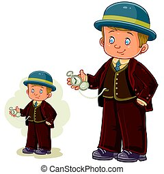 Vector illustration of a little boy dressed in period...