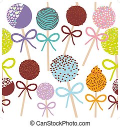 seamless pattern Colorful Sweet Cake pops set with bow...