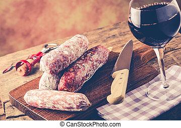 concetto, cibo,  -, salame, italiano, rosso, vino