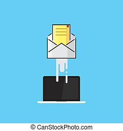 Envelope flies out of the laptop. E-mail, email marketing, internet advertising concepts. Flat design vector illustration