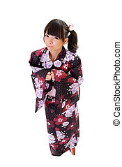 Adorable japanese girl with Yukata, full length portrait...