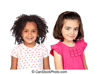 Couple of children isolated on a white background
